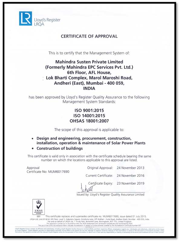 Lloyd's Register Quality Assurance Management System Certificate of Approval - Mahindra Susten